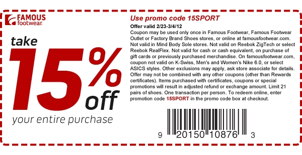 15 Percent Off At Famous Footwear